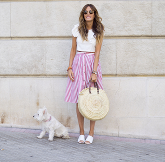 rebel attitude blogger skirt shoes top bag round bag striped skirt white top mules summer outfits