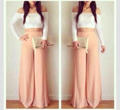 pants,high waisted palazzo pants,top,pastel pants,blouse,peach,plazzo pants,wide-leg pants,high waisted pants,plain color,wide-leg,bottoms,style,shirt,white,pearl,clutch,outfit,flowy pants,jumpsuit,dress pants,crop tops,dress top,tumblr,tumblr outfit,pink,dress