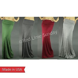 New Wide Fold Over Waistband Rayon Solid Color Chic Fashion Long Maxi Skirt USA