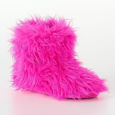 Candie's careah faux fur fuzzy slipper boots in pink & rainbow new in box