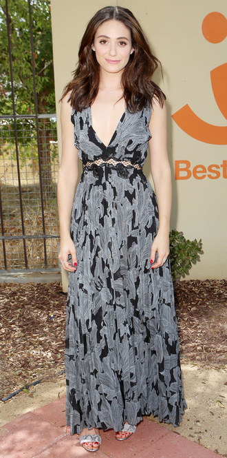 dress maxi dress emmy rossum sandals plunge dress plunge v neck