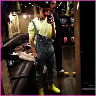 pants celebrity justin bieber overalls