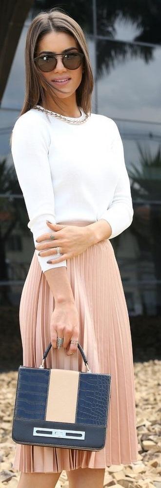 skirt peach skirt pleated