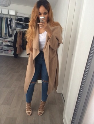 coat trench coat long waterfall jeans cardigan