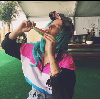 sunglasses halsey cute cool grunge indie pixie colorful vibrant tumblr tumblr outfit tumblr girl summer style fashion pink hair accessory hat halsey grunge hippie summer outfits shirt