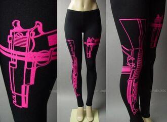 leggings black pink ak-47 ar-15 556 762 gun firearm weapons 9mm barretta