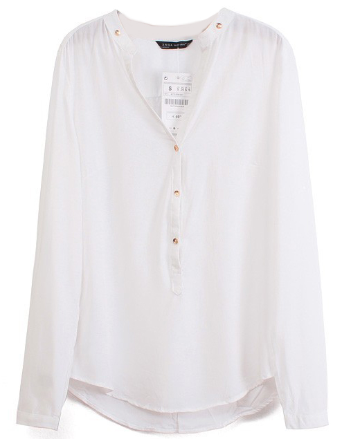 White V Neck Long Sleeve Buttons Blouse - Sheinside.com