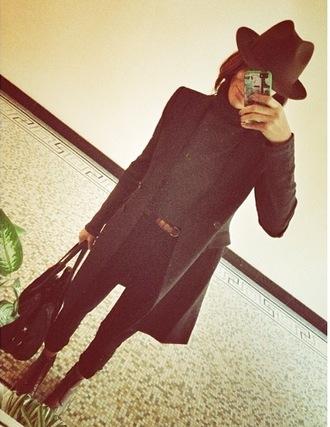 coat clothes celebrity style blogger clothes bloggers black coat long coat beautiful
