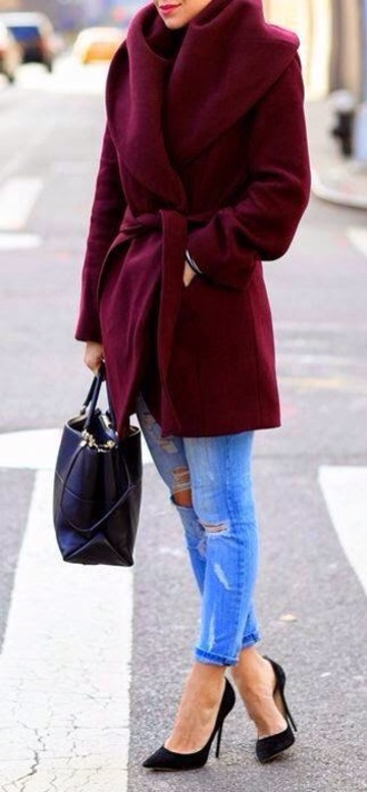 coat jacket burgundy red coat burgundy jacket red wine fluggy red dark red burgundy coat oversized coat winter coat fashion wrap coat robe coat jeans heels celebrity