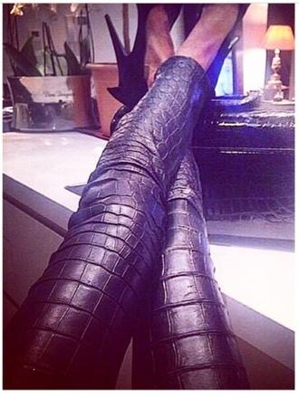 pants black pants crocodile pants