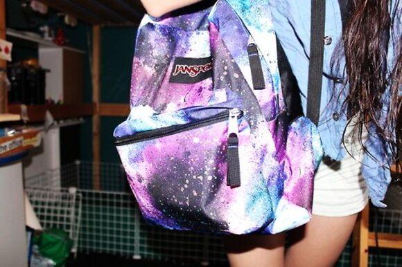 galaxy bag jansport cool crazy design purple blue black white
