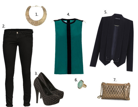 bag jacket golden ring high heels blouse embelished coat embelished jacket embelished shoes embelished clutch turquoise trimmed skinny pants statement necklace necklace stone ring gem ring chain clutch clutch purse tailored coat tailored jacket