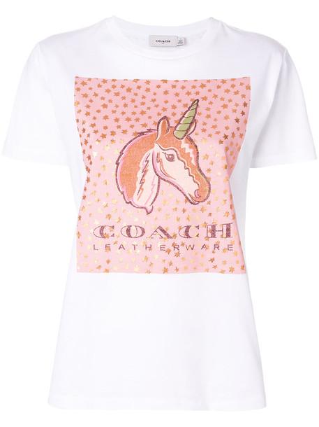 coach t-shirt shirt t-shirt women white cotton top