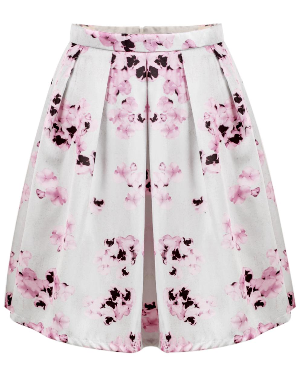 Pink Florals Print Pleated Shikt - Sheinside.com