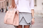 skirt,bag,mini skirt,baby blue,layers,grey,office outfits
