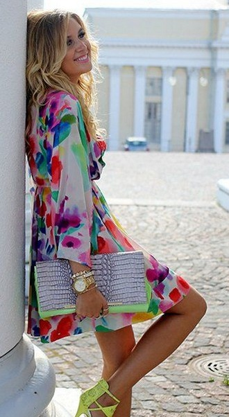 dress neon spring tie waist pink purple green yelloe orange floral floral dress white chiffon chiffon dress pintrest neon dress pretty easter skater dress short dress knee length dress v neck dress long sleeve dress long sleeves v neck jewels