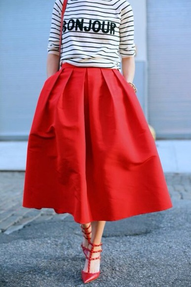 paris skirt long skirt red skirt stripes