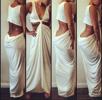 dress white sleeveless beach dress white dress long dress maxi dress gold gold chain