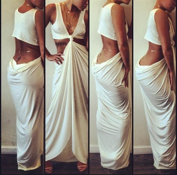 dress long dress white dress white gold sleeveless beach dress maxi dress gold chain