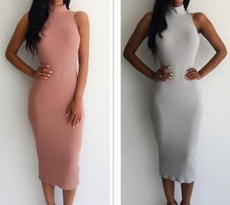 dress dress up pretty long dress maxi dress slim dress cotton dress cotton grey pink grey dress pink dress turtleneck turtleneck dress