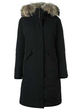 parka fur women black coat