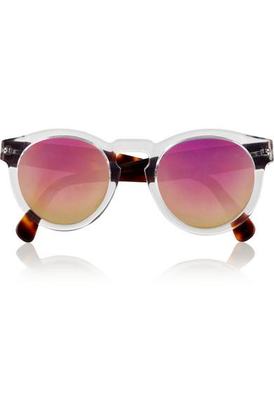 Illesteva|Leonard round-frame acetate mirrored sunglasses|NET-A-PORTER.COM