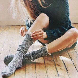 socks knee high socks cute socks cute cozy cozy sweater sweater frilly frilly socks grey green green sweater
