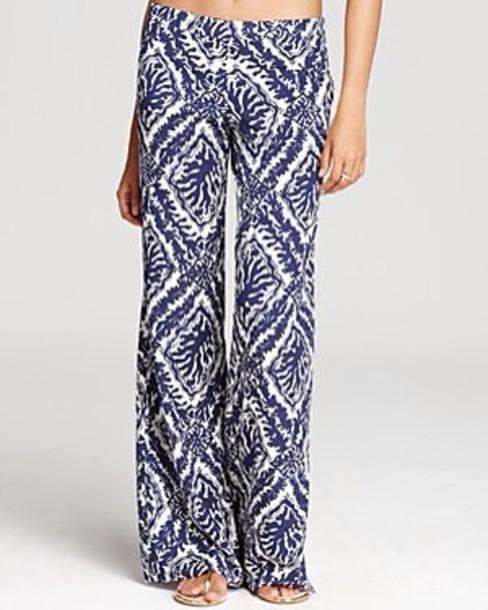 pants blue pattern palazzo pants
