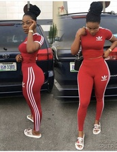 jumpsuit,adidas,red leggings,crop tops,addidas pants,addias pants,adidas originals,addidas shirt,adidas tracksuit bottom,adidas shirt