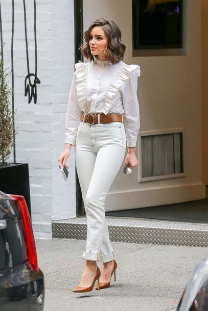 blouse ruffled top ruffle olivia culpo spring outfits jeans pumps belt white jeans