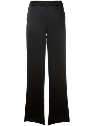 women spandex black silk pants