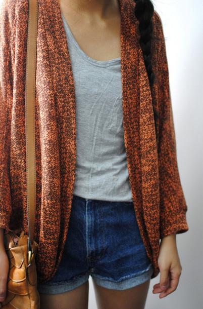 cardigan knitted cardigan orange red knitwear