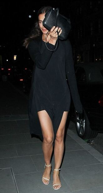 dress black dress slit dress sandals irina shayk summer dress