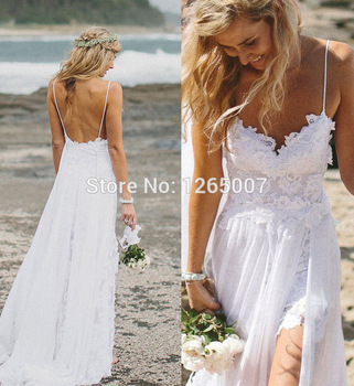 Aliexpress.com : Buy Sweetheart Spaghetti Traps Vestido Noiva Sereia Noiva High Slit A Line Lace Informal Backless Beach Wedding Dress Bridal Summer from Reliable wedding dress figure suppliers on SFBridal