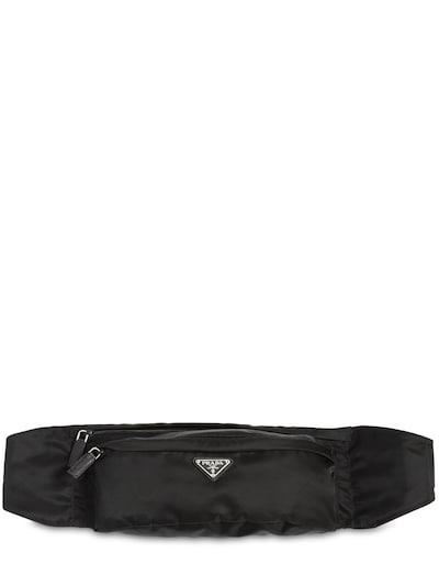 PRADA Logo Nylon Belt Bag Black