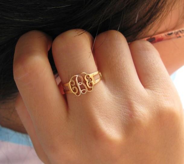 jewels  monogram ring  bridesmaids gift  birthday gift  personalized ring  name ring  handmade