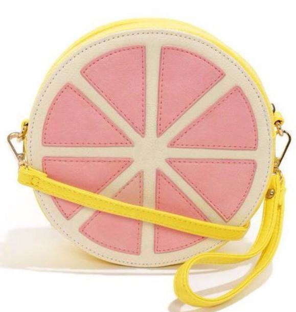 bag lemon bags and purses pink and yellow