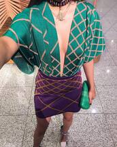 top,green top,purple skirt,tumblr,v neck,plunge v neck,skirt,mini skirt,bag,clutch,date outfit,spring date night outfit,necklace,gold necklace,jewelry,gold jewelry,choker necklace