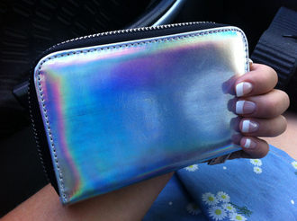 wallet holographic jeans metallic silver indie shiny shimmering neon glimmer retro clutch cool grunge bag it's shiny!!
