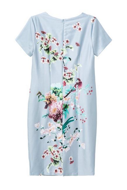 Vintage Birds and Floral Pattern Dress