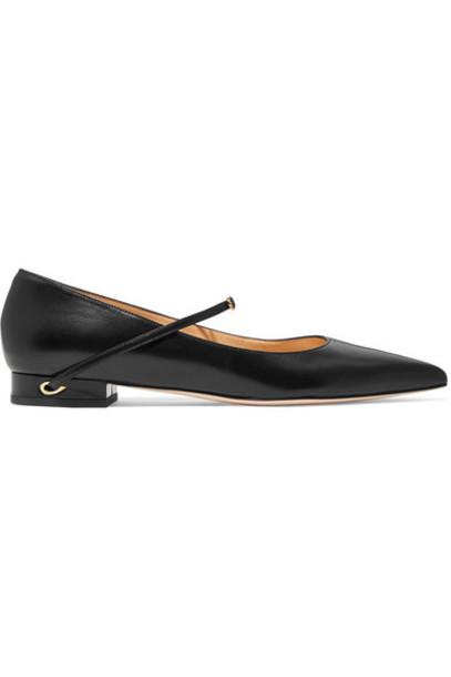 Jennifer Chamandi - Lorenzo Leather Point-toe Flats - Black