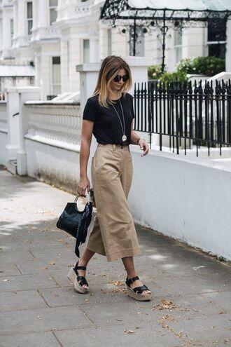 shoes platform shoes sandals platform sandals pants top black top beige pants bag sunglasses necklace