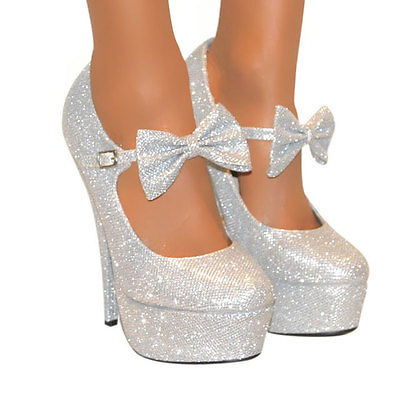 COUTURE SILVER GLITTER OR GOLD GLITTER MARY JANE BOW PLATFORM ...