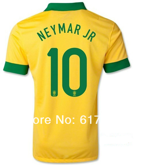 the best attitude 8868e a7d55 13 14 Brazil home yellow sports jersey #10 NEYMAR JR player version thai  quality soccer shirts football t shirts Free Shipping-in Sports Jerseys  from ...