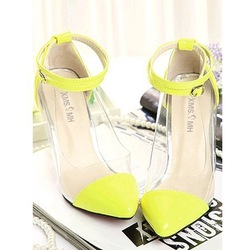 Online Shop Womens Pointy Cap Toe Clear High Heel Shoes Ankle Wrap Strap Neon Heels Sandals|Aliexpress Mobile