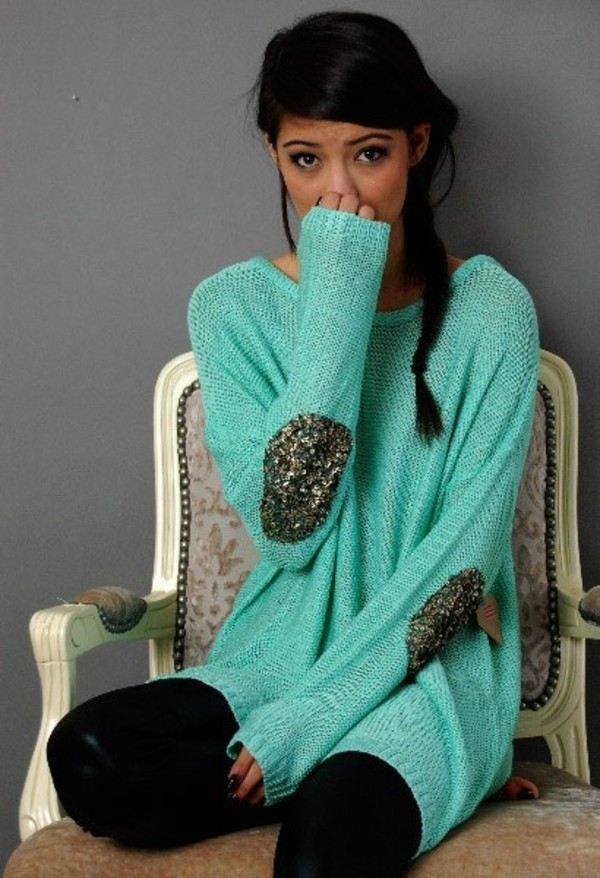 sweater clothes oversized sweater blue sweater sequins shirt sparkle blue mint comfy gold sequins sequin top sequin patch top sequin elbow patch turquoise elbow shirt thingy elbow patches mint sweater sequin patch sweater top