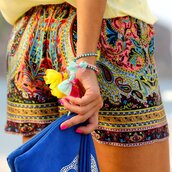 shorts,summer,paisley,colorful,colourful shorts,clutch,light yellow,bright,color/pattern,fashion,bracelets,blue skull clutch,colourful braclets cute,girly,flowers,boho chic,boho