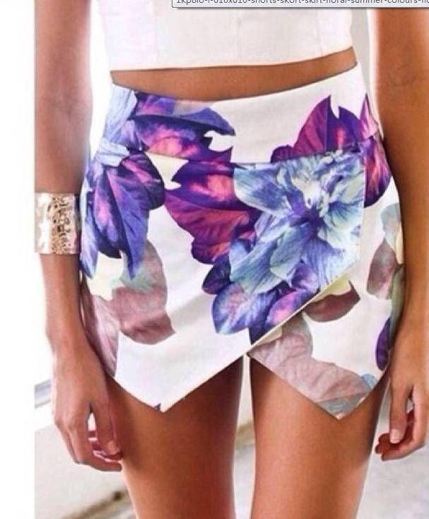 White High Waist Floral Asymmetrical Skirt Shorts | eBay