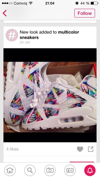 shoes sneakers air max multicolored multi colored white yellow red blue black