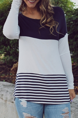sweater casual navy grey stripes long sleeves fall outfits style fashion warm clothes colorblock trendy